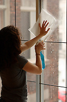 Montreal (Qc) CANADA -Nov 2008-<br /> Model released and Property Released  Photo - window washing