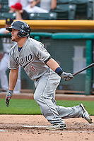 Garrett Weber (4) of the Reno Aces at bat against the Salt Lake Bees in Pacific Coast League action at Smith's Ballpark on July 18, 2015 in Salt Lake City, Utah. The Bees defeated the Aces 6-4. (Stephen Smith/Four Seam Images)