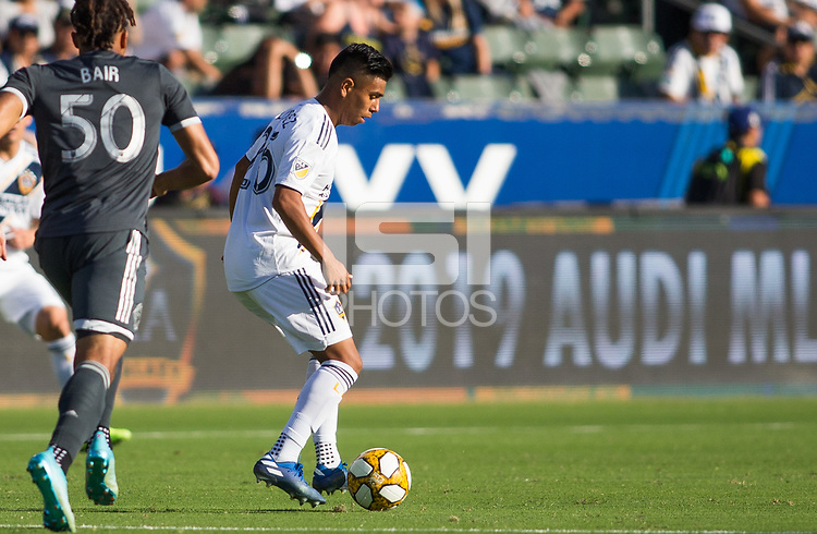 CARSON, CA - SEPTEMBER 29: Efrain Alvarez #26 of the Los Angeles Galaxy moves with the ball during a game between Vancouver Whitecaps and Los Angeles Galaxy at Dignity Health Sports Park on September 29, 2019 in Carson, California.