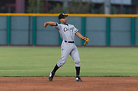 AZL White Sox second baseman Camilo Quinteiro (1) throws to first base during an Arizona League game against the AZL Cubs 2 at Sloan Park on July 13, 2018 in Mesa, Arizona. The AZL Cubs 2 defeated the AZL White Sox by a score of 6-4. (Zachary Lucy/Four Seam Images)