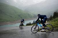 Carlos Verona (ESP/Movistar) descending the Col du Pré (HC/1748m) towards the Barrage de Roselend in, yet again, grim conditions.<br /> <br /> Stage 9 from Cluses to Tignes (145km)<br /> 108th Tour de France 2021 (2.UWT)<br /> <br /> ©kramon