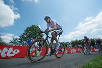 """Tom Dumoulin (NLD/Giant-Shimano) up le """"Petit Poggio""""<br /> <br /> <br /> 2014 Belgium Tour<br /> stage 4: Lacs de l'Eau d'Heure - Lacs de l'Eau d'Heure (178km)"""