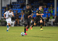 LAKE BUENA VISTA, FL - JULY 18: José Cifuentes #11 of LAFC runs with the ball during a game between Los Angeles Galaxy and Los Angeles FC at ESPN Wide World of Sports on July 18, 2020 in Lake Buena Vista, Florida.