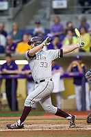 Texas A&M Aggies third baseman Ronnie Gideon (33) follows through on his swing during a Southeastern Conference baseball game against the LSU Tigers on April 24, 2015 at Alex Box Stadium in Baton Rouge, Louisiana. LSU defeated Texas A&M 9-6. (Andrew Woolley/Four Seam Images)