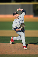 Richmond Spiders relief pitcher Kurtis Brown (22) in action against the Wake Forest Demon Deacons at David F. Couch Ballpark on March 6, 2016 in Winston-Salem, North Carolina.  The Demon Deacons defeated the Spiders 17-4.  (Brian Westerholt/Four Seam Images)