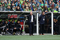 SEATTLE, WA - NOVEMBER 10: Head coach Brian Schmetzer of the Seattle Sounders FC yells instructions to his team during a game between Toronto FC and Seattle Sounders FC at CenturyLink Field on November 10, 2019 in Seattle, Washington.