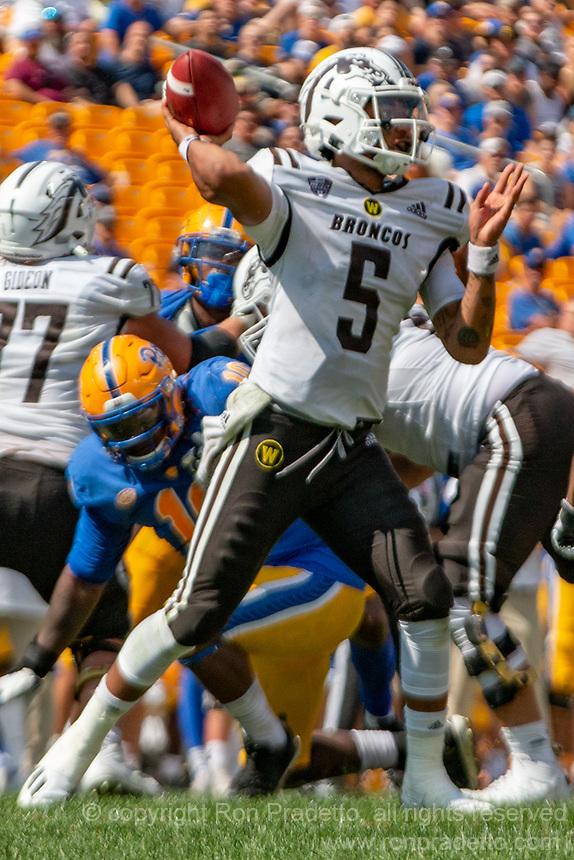 WMU quarterback Kaleb Eleby (5). The Western Michigan University Broncos defeated the Pitt Panthers 44-41 at Heinz Field, Pittsburgh, Pennsylvania on September 18, 2021.