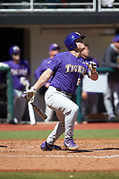Cade Beloso (24) of the LSU Tigers follows through on his swing against the Georgia Bulldogs at Foley Field on March 23, 2019 in Athens, Georgia. The Bulldogs defeated the Tigers 2-0. (Brian Westerholt/Four Seam Images)