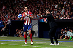 Atletico de Madrid's Saul Niguez and Club Brugge's coach Ivan Leko during UEFA Champions League match between Atletico de Madrid and Club Brugge at Wanda Metropolitano Stadium in Madrid, Spain. October 03, 2018. (ALTERPHOTOS/A. Perez Meca)
