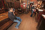 Asian visitors to the historic Chew Kee Chinese herb store, established 1855 during California's Gold Rush, Fiddletown, Calif.