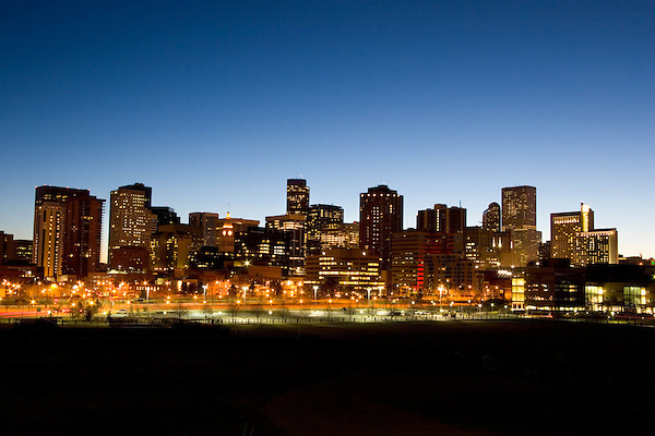 Downtown skyline at sunrise, Denver, Colorado. .  John offers private photo tours in Denver, Boulder and throughout Colorado. Year-round Colorado photo tours.