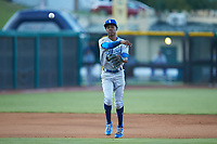 Burlington Royals shortstop Maikel Garcia (2) makes a throw to first base against the Pulaski Yankees at Calfee Park on August 31, 2019 in Pulaski, Virginia. The Yankees defeated the Royals 6-0. (Brian Westerholt/Four Seam Images)