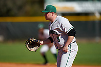 Dartmouth Big Green first baseman Michael Calamari (3) during a game against the Omaha Mavericks on February 23, 2020 at North Charlotte Regional Park in Port Charlotte, Florida.  Dartmouth defeated Omaha 8-1.  (Mike Janes/Four Seam Images)
