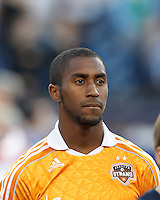 Houston Dynamo defender Corey Ashe (26). In a Major League Soccer (MLS) match, the New England Revolution tied Houston Dynamo, 2-2, at Gillette Stadium on May 19, 2012.