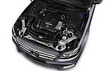 Car stock 2018 Mercedes Benz E Class Base 4 Door Sedan engine high angle detail view