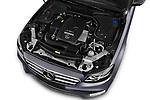 Car stock 2018 Mercedes Benz E Class Base 4 Door Sedan engine high angle detail view