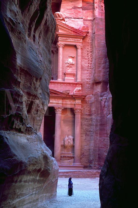Treasury,View through the Siq. Petra, Kingdom of Jordan