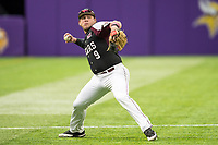 Missouri State Bears third baseman Jake Burger (9) throws to first base during a game against the Minnesota Golden Gophers on March 11, 2017 at U.S. Bank Stadium in Minneapolis, Minnesota. (Brace Hemmelgarn/Four Seam Images)