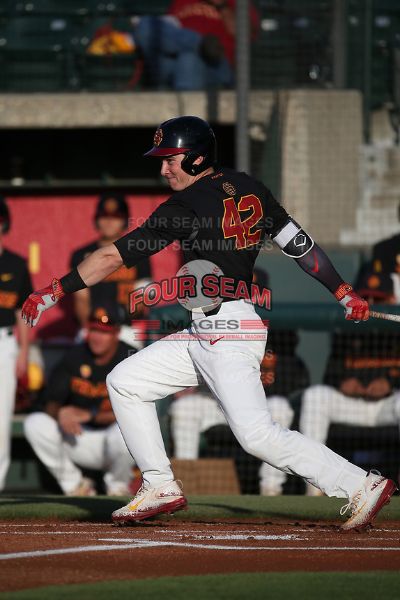 David Edson (42) of the Southern California Trojans bats against the Stanford Cardinal at Dedeaux Field on April 6, 2017 in Los Angeles, California. Southern California defeated Stanford, 7-5. (Larry Goren/Four Seam Images)
