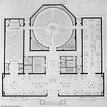 Pittsburgh PA:  View of a drawing created by Ingram & Boyd Architects of the new Buhl Planetarium.  This view is a close-up of the initial 1st-floor layout of the planetarium. The project was completed in 1939.  The Buhl Planetarium was built with monies from the Buhl Foundation; a foundation created by the wealthy North Side clothier Henry Buhl of Boggs and Buhl department store fame.  Brady Stewart was selected for the job due to his specialized equipment; an 8x10 Dierdorff camera, and his expertise in lighting and photographing large renderings and drawings.