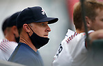 Reno Aces' Manager Blake Lalli watches the action against the Tacoma Rainiers, in Reno, Nev., on Friday, May 28, 2021. <br /> Photo by Cathleen Allison
