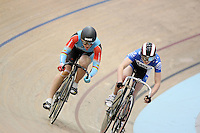 Australia's anna Meares, left, in the Women Sprint at the 2014 Oceania Track Championships, Sit Zero Fees Velodrome, Invercargill, New Zealand, Friday, November 22, 2013. Photo: Dianne Manson / NINZ