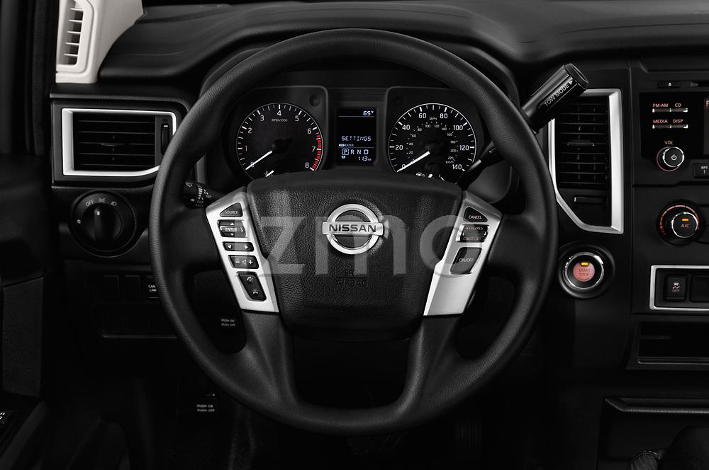 Car pictures of steering wheel view of a 2017 Nissan Titan S-Single 2 Door Pick-up Steering Wheel