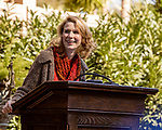 October 26, 2017. Raleigh, North Carolina.<br /> <br /> NC First Lady Kristin Coopers poke to the crowd at the garden dedication.<br /> <br /> A new garden designed by Ben Skelton containing native Plants For Birds was dedicated at the North Carolina Executive Mansion.