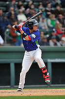 Catcher Austin Rei (13) of the Greenville Drive bats in a game against the Asheville Tourists on Sunday, April 10, 2016, at Fluor Field at the West End in Greenville, South Carolina. Greenville won 7-4. (Tom Priddy/Four Seam Images)