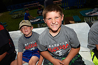 Batavia Muckdogs youth baseball clinic participants before the group photo on August 30, 2017 at Dwyer Stadium in Batavia, New York.  (Mike Janes/Four Seam Images)