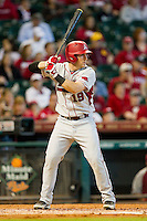 Jake Wise #19 of the Arkansas Razorbacks at bat against the Houston Cougars at Minute Maid Park on March 3, 2012 in Houston, Texas.  The Cougars defeated the Razorbacks 4-1.  (Brian Westerholt/Four Seam Images)