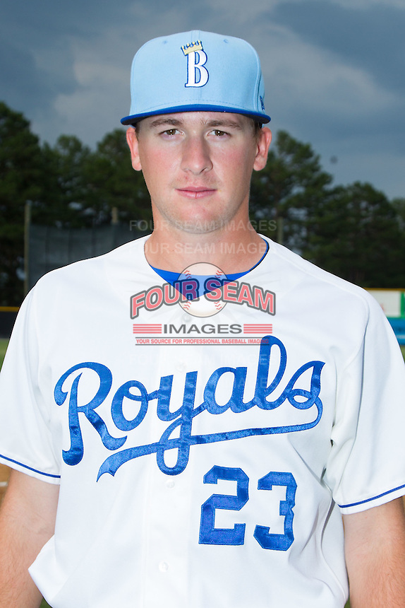 Ian Tompkins (23) of the Burlington Royals poses for a photo prior to the game against the Princeton Rays at Burlington Athletic Park on July 9, 2014 in Burlington, North Carolina.  The Rays defeated the Royals 3-0.  (Brian Westerholt/Four Seam Images)