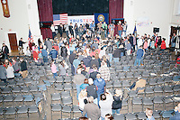 People crowd to the front of the room to greet Texas senator and Republican presidential candidate Ted Cruz after he spoke during a town hall event at Peterborough Town House in Peterborough, New Hampshire, on Sun., Feb. 7, 2016.