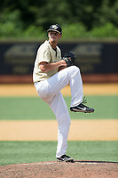Wake Forest Demon Deacons relief pitcher Carter Bach (18) in action against the Pitt Panthers at David F. Couch Ballpark on May 20, 2017 in Winston-Salem, North Carolina. The Demon Deacons defeated the Panthers 14-4.  (Brian Westerholt/Four Seam Images)