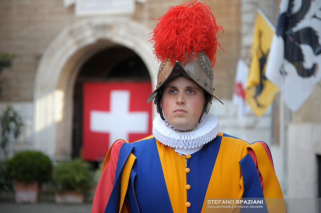 Pontifical Swiss Guard.The Corps of the Pontifical Swiss Guard or Swiss Guard,Guardia Svizzera Pontificia,responsible for the safety of the Pope, including the security of the Apostolic Palace. It serves as the de facto military of Vatican City..Pope Benedict XVI arrives to celebrate a Mass in memory of the late Pope John Paul II on the second anniversary of his death, at St. Peter's Basilica at the Vatican, Monday, April 2, 2007. Roman Catholics marked the second anniversary of Pope John Paul II's death Monday with vigils in his native Poland and a ceremony earlier in Rome to seal shut - with red ribbons and wax - documents on the pope's life that are vital to making him a saint..20/10/2009