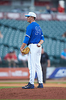 Duke Blue Devils relief pitcher Karl Blum (24) looks to his catcher for the sign against the Florida State Seminoles in the first semifinal of the 2017 ACC Baseball Championship at Louisville Slugger Field on May 27, 2017 in Louisville, Kentucky. The Seminoles defeated the Blue Devils 5-1. (Brian Westerholt/Four Seam Images)