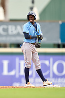 FCL Rays Alejandro Pie (64) smiles on second base after hitting a double during a game against the FCL Pirates Gold on July 26, 2021 at LECOM Park in Bradenton, Florida. (Mike Janes/Four Seam Images)