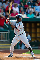 Jean Segura (8) of the Arkansas Travelers at bat during a game against the Springfield Cardinals at Hammons Field on May 5, 2012 in Springfield, Missouri. (David Welker/Four Seam Images)