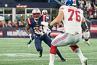 FOXBORO, MA - OCTOBER 10: New England Patriots Defensive back Duron Harmon (21) runs after intercepting a New York Giant short pass during a game between New York Giants and New England Patriots at Gillettes on October 10, 2019 in Foxboro, Massachusetts.