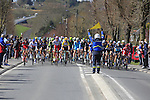 The peloton arrive in St-Quentin during the 113th edition of the Paris-Roubaix 2015 cycle race held over the cobbled roads of Northern France. 12th April 2015.<br /> Photo: Eoin Clarke www.newsfile.ie