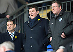 St Johnstone v Partick Thistle...29.03.14    SPFL<br /> Tommy Wright back after his operation watches the game from the stands with Chairman Steve Brown and Roddy Grant<br /> Picture by Graeme Hart.<br /> Copyright Perthshire Picture Agency<br /> Tel: 01738 623350  Mobile: 07990 594431