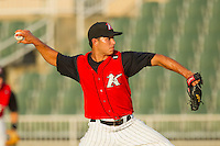 Starting pitcher Cameron Bayne #10 of the Kannapolis Intimidators in action against the Augusta GreenJackets at Fieldcrest Cannon Stadium June 24, 2010, in Kannapolis, North Carolina.  Photo by Brian Westerholt / Four Seam Images