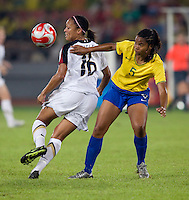 Shannon Boxx, Renata Costa. The USWNT defeated Brazil, 1-0, to win the gold medal during the 2008 Beijing Olympics at Workers' Stadium in Beijing, China.