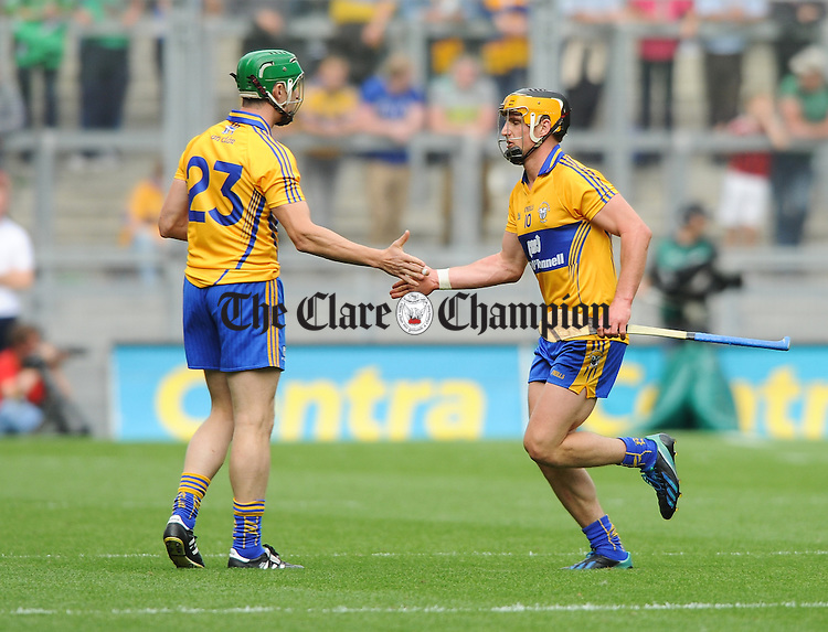 Fergal Lynch goes on and John Conlon comes off during the All-Ireland senior championship semi final against Limerick at Croke Park. Photograph by John Kelly.
