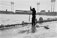 Le stade du Parc Jarry en hiver,  8 Mars 1973<br /> PHOTO :   Agence Quebec Presse - Alain Renaud