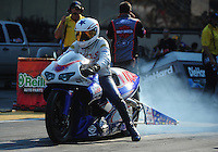 Jul. 1, 2012; Joliet, IL, USA: NHRA pro stock motorcycle rider Hector Arana Jr during the Route 66 Nationals at Route 66 Raceway. Mandatory Credit: Mark J. Rebilas-