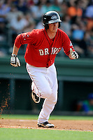 Shortstop Jimmy Rider (5) of the Greenville Drive in a game against the Lexington Legends on Sunday, April 27, 2014, at Fluor Field at the West End in Greenville, South Carolina. Greenville won, 21-6. (Tom Priddy/Four Seam Images)