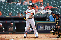 Trey Ochoa (9) of the Sam Houston State Bearkats at bat against the Vanderbilt Commodores in game one of the 2018 Shriners Hospitals for Children College Classic at Minute Maid Park on March 2, 2018 in Houston, Texas. The Bearkats walked-off the Commodores 7-6 in 10 innings.   (Brian Westerholt/Four Seam Images)