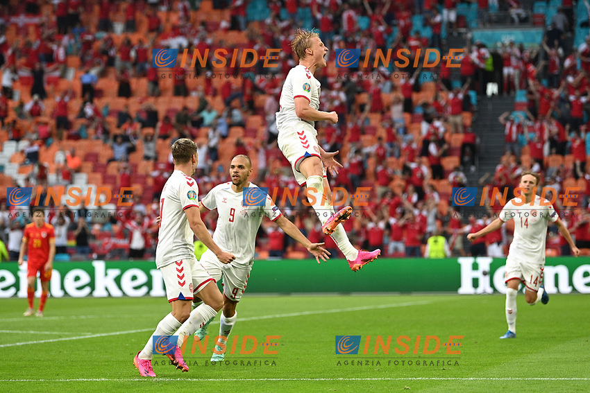 AMSTERDAM, NETHERLANDS - JUNE 26: Kasper Dolberg of Denmark celebrates after scoring their side's second goal during the UEFA Euro 2020 Championship Round of 16 match between Wales and Denmark at Johan Cruijff Arena on June 26, 2021 in Amsterdam, Netherlands. (Photo by Lukas Schulze - UEFA/UEFA via Getty Images)<br /> Photo Uefa/Insidefoto ITA ONLY