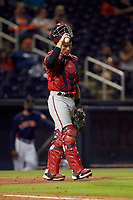 Washington Nationals catcher Jakson Reetz (76) during a Major League Spring Training game against the Houston Astros on March 19, 2021 at The Ballpark of the Palm Beaches in Palm Beach, Florida.  (Mike Janes/Four Seam Images)